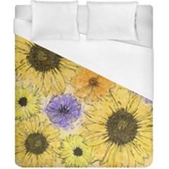 Multi Flower Line Drawing Duvet Cover (california King Size)