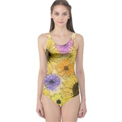 Multi Flower Line Drawing One Piece Swimsuit