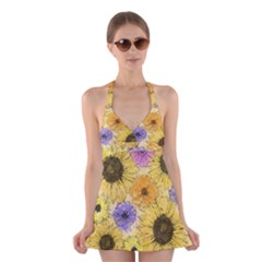 Multi Flower Line Drawing Halter Swimsuit Dress