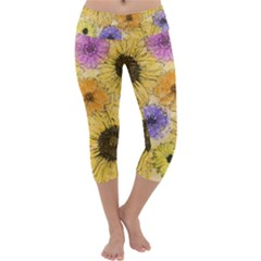 Multi Flower Line Drawing Capri Yoga Leggings