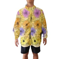 Multi Flower Line Drawing Wind Breaker (Kids)