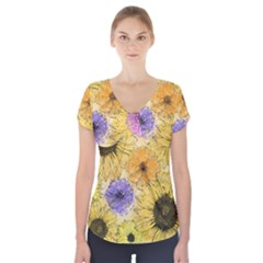 Multi Flower Line Drawing Short Sleeve Front Detail Top