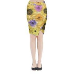 Multi Flower Line Drawing Midi Wrap Pencil Skirt