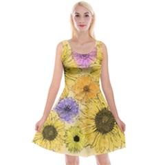 Multi Flower Line Drawing Reversible Velvet Sleeveless Dress