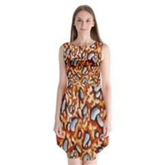 Pebble Painting Sleeveless Chiffon Dress