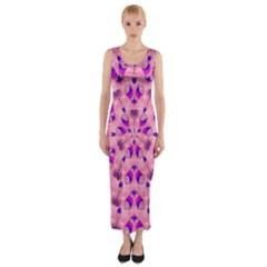 Mandala Tiling Fitted Maxi Dress