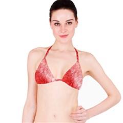Pink Fur Background Bikini Top