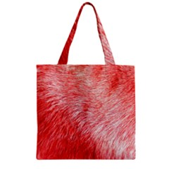 Pink Fur Background Zipper Grocery Tote Bag