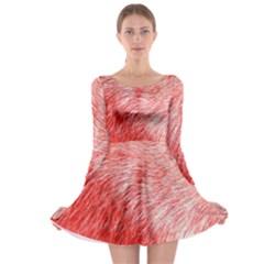 Pink Fur Background Long Sleeve Skater Dress