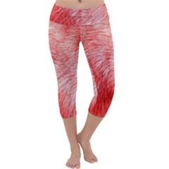 Pink Fur Background Capri Yoga Leggings