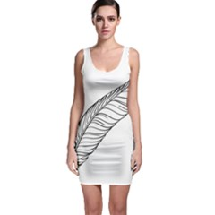 Feather Line Art Sleeveless Bodycon Dress