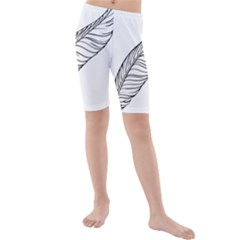 Feather Line Art Kids  Mid Length Swim Shorts