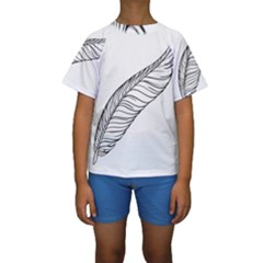 Feather Line Art Kids  Short Sleeve Swimwear