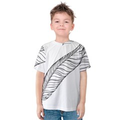 Feather Line Art Kids  Cotton Tee