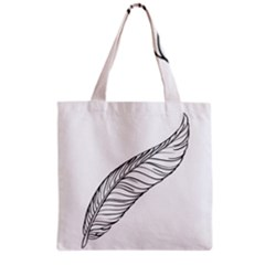Feather Line Art Grocery Tote Bag