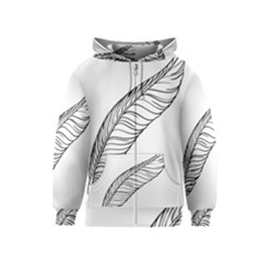 Feather Line Art Kids  Zipper Hoodie