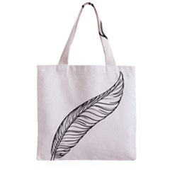 Feather Line Art Zipper Grocery Tote Bag