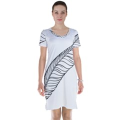 Feather Line Art Short Sleeve Nightdress