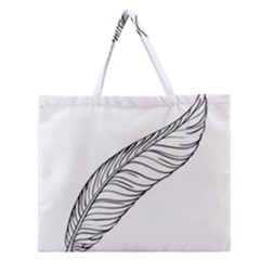 Feather Line Art Zipper Large Tote Bag