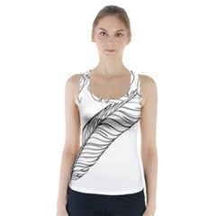 Feather Line Art Racer Back Sports Top