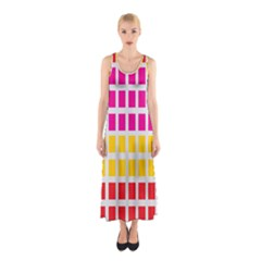 Squares Pattern Background Colorful Squares Wallpaper Sleeveless Maxi Dress