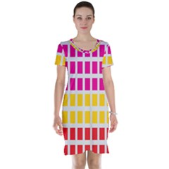 Squares Pattern Background Colorful Squares Wallpaper Short Sleeve Nightdress