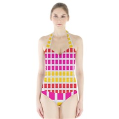 Squares Pattern Background Colorful Squares Wallpaper Halter Swimsuit