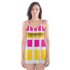 Squares Pattern Background Colorful Squares Wallpaper Skater Dress Swimsuit
