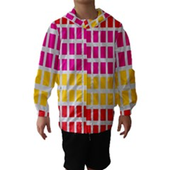 Squares Pattern Background Colorful Squares Wallpaper Hooded Wind Breaker (kids)