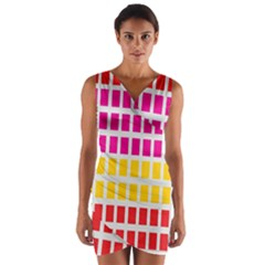 Squares Pattern Background Colorful Squares Wallpaper Wrap Front Bodycon Dress