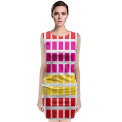 Squares Pattern Background Colorful Squares Wallpaper Classic Sleeveless Midi Dress