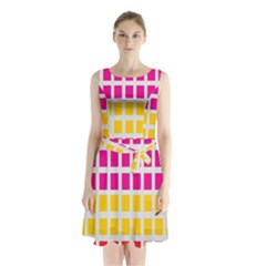Squares Pattern Background Colorful Squares Wallpaper Sleeveless Chiffon Waist Tie Dress
