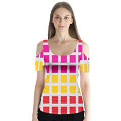 Squares Pattern Background Colorful Squares Wallpaper Butterfly Sleeve Cutout Tee