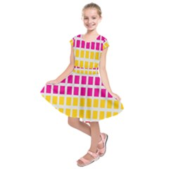 Squares Pattern Background Colorful Squares Wallpaper Kids  Short Sleeve Dress