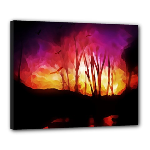 Fall Forest Background Canvas 20  X 16