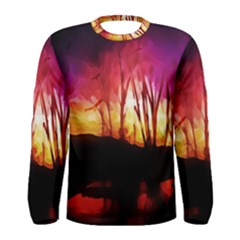Fall Forest Background Men s Long Sleeve Tee