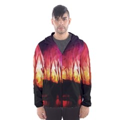 Fall Forest Background Hooded Wind Breaker (Men)