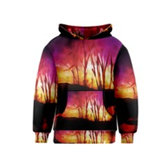 Fall Forest Background Kids  Pullover Hoodie