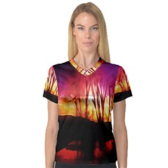 Fall Forest Background Women s V Neck Sport Mesh Tee
