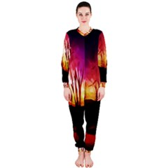 Fall Forest Background OnePiece Jumpsuit (Ladies)