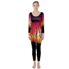 Fall Forest Background Long Sleeve Catsuit