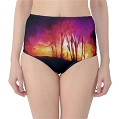 Fall Forest Background High Waist Bikini Bottoms