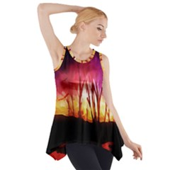 Fall Forest Background Side Drop Tank Tunic
