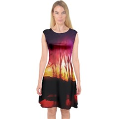 Fall Forest Background Capsleeve Midi Dress