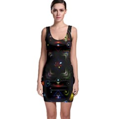 Geometric Line Art Background In Multi Colours Sleeveless Bodycon Dress