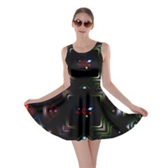 Geometric Line Art Background In Multi Colours Skater Dress