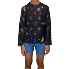 Geometric Line Art Background In Multi Colours Kids  Long Sleeve Swimwear
