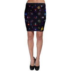 Geometric Line Art Background In Multi Colours Bodycon Skirt