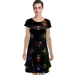 Geometric Line Art Background In Multi Colours Cap Sleeve Nightdress