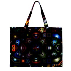 Geometric Line Art Background In Multi Colours Large Tote Bag